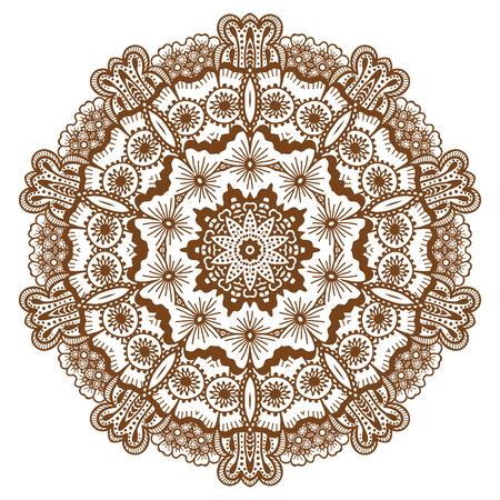 Round brown mandala. Illustration