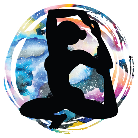 astral: Women silhouette on galaxy astral background. Mermaid yoga pose. Eka pada raja kapotasana. Vector illustration.