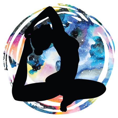 Women silhouette on galaxy astral background. One-legged king Pigeon yoga pose. Eka pada rajakapotasana. Vector illustration. Иллюстрация