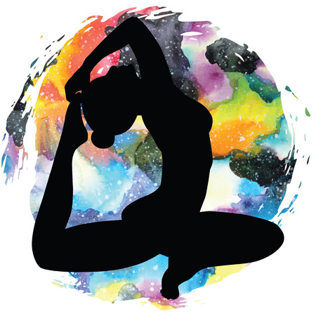 eka: Women silhouette on galaxy astral background. One-legged king Pigeon yoga pose. Eka pada rajakapotasana. Vector illustration. Illustration