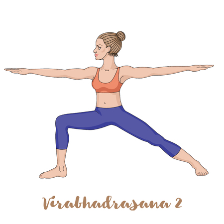 warrior pose: Women silhouette. Warrior 2 yoga pose. Virabhadrasana 2 Illustration