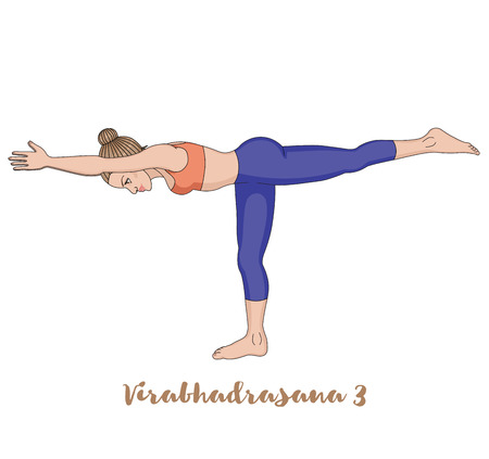 warrior pose: Women silhouette. Warrior 3 yoga pose. Virabhadrasana 3