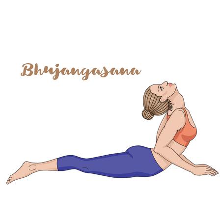 girl illustration: Women silhouette. Cobra yoga pose. Bhujangasana Illustration