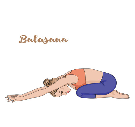 yoga class: Women silhouette. Child s yoga pose. Balasana Illustration