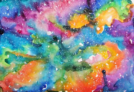 Watercolor galaxy illustration.