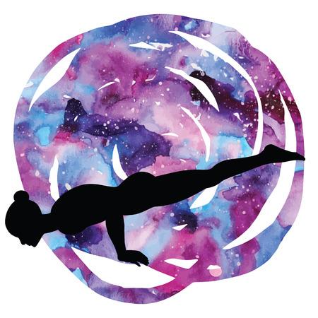 ashtanga: Women silhouette. Peacock yoga pose. Mayurasana Illustration