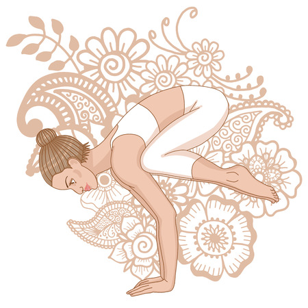 flexible woman: Women silhouette. Crane yoga pose. Bakasana