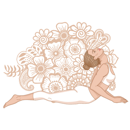 bhujangasana: Women silhouette. Cobra yoga pose. Bhujangasana.