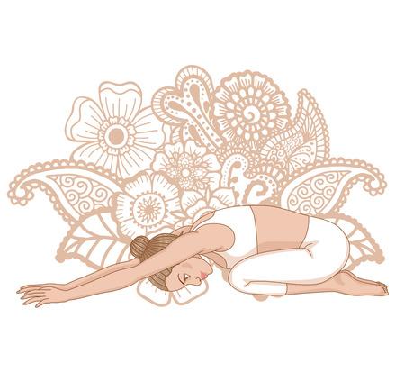 Women silhouette. Child s yoga pose. Balasana.