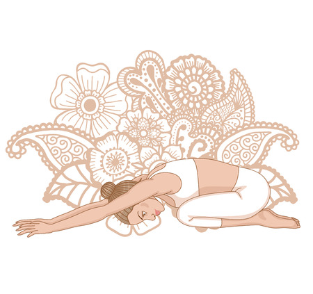 flexible woman: Women silhouette. Child s yoga pose. Balasana.