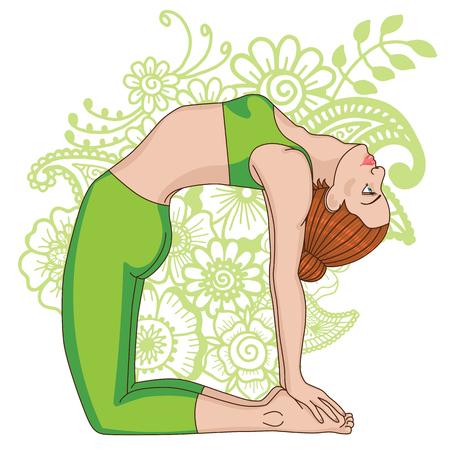 Women silhouette. Camel yoga pose. Ustrasana.