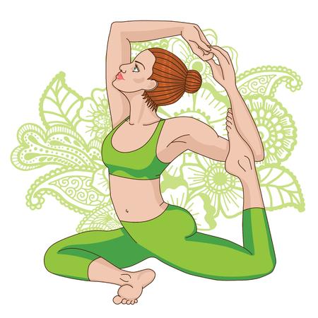 pada: Women silhouette. Mermaid yoga pose. Eka pada raja kapotasana.