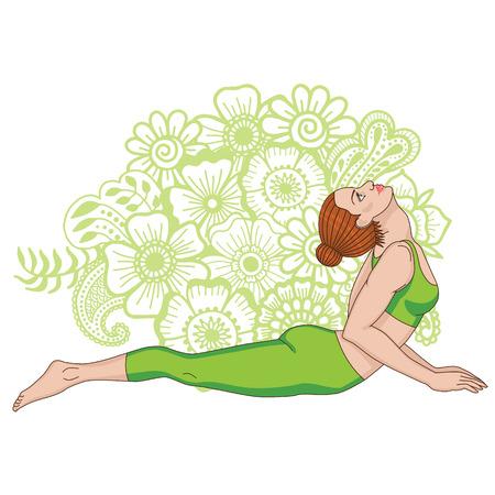 bhujangasana: Women silhouette. Cobra yoga pose. Bhujangasana Illustration