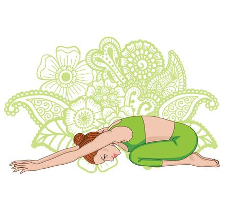 silueta niño: Silueta de las mujeres. pose de yoga infantil s. Balasana