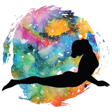 Women silhouette. Upward facing dog yoga pose. Urdhva mukha svanasana. Illustration