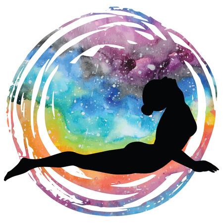 Women silhouette. Upward facing dog yoga pose. Urdhva mukha svanasana. Иллюстрация