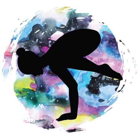 female fitness: Women silhouette. Crane yoga pose. Bakasana