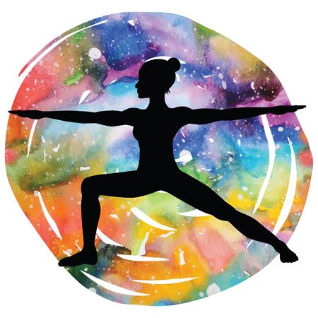 Women silhouette. Warrior 2 yoga pose. Virabhadrasana 2 Illustration