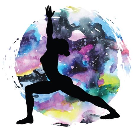 Women silhouette. Warrior 1 yoga pose. Virabhadrasana 1 Illustration
