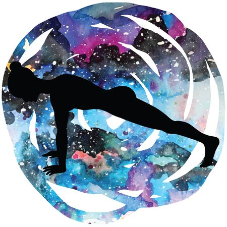 fitness woman: Women silhouette. High plank yoga pose. Uttihita Chaturanga Dandasana.