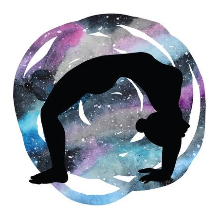 dhanurasana: Women silhouette. Upward bow wheel yoga pose. Urdhva dhanurasana