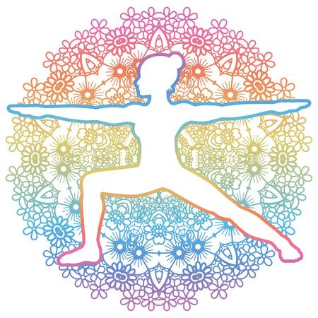 chakra energy: Women silhouette. Warrior 2 yoga pose. Virabhadrasana 2 Illustration