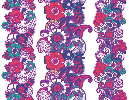 Mehndi ribbons. Paisley design. Illustration