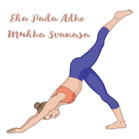 legged: Women silhouette. One legged downward facing dog Yoga Pose. Eka Pada Adho Mukha Svanasa