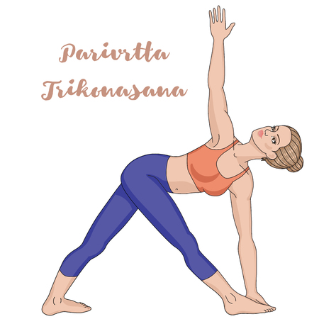 female fitness: Women silhouette. Revolved Triangle Yoga Pose. Parivrtta Trikonasana