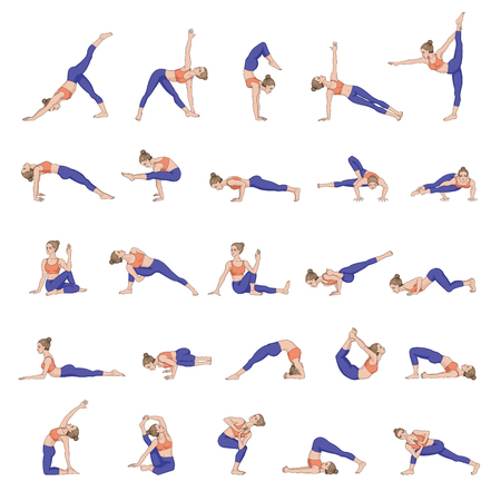 stretching: Women silhouettes. Collection of yoga poses. Asana set.