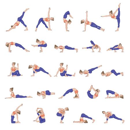 asanas: Women silhouettes. Collection of yoga poses. Asana set.