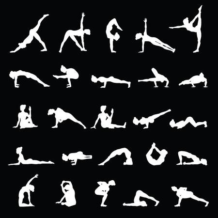 exercise silhouette: Women silhouettes. Collection of yoga poses. Asana set.