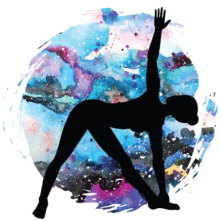 Women silhouette. Extended Triangle Yoga Pose. Utthita trikonasana