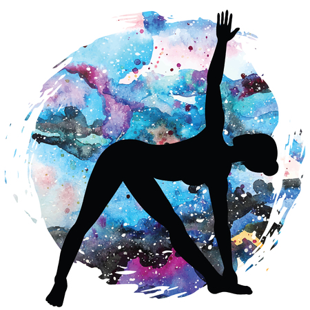 extended: Women silhouette. Extended Triangle Yoga Pose. Utthita trikonasana