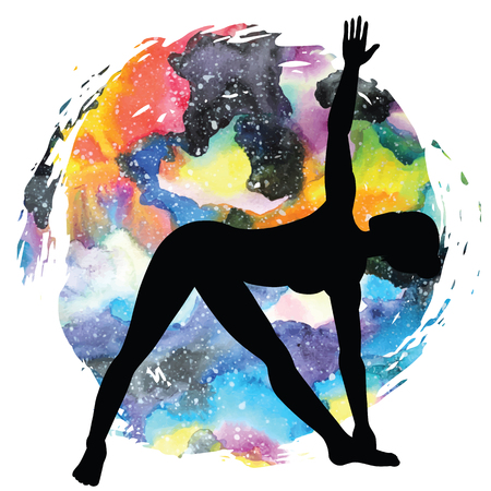 Women silhouette on galaxy astral background. Extended Triangle Yoga Pose. Utthita trikonasana Vector illustration Illustration