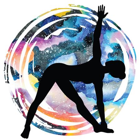 spiritual energy: Women silhouette on galaxy astral background. Extended Triangle Yoga Pose. Utthita trikonasana Vector illustration Illustration