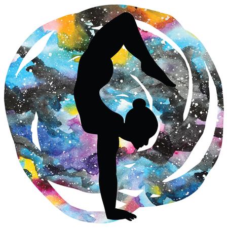 Women silhouette on galaxy astral background. Arm Balance Scorpion Yoga Pose. Bhuja Vrischikasana. Vector illustration