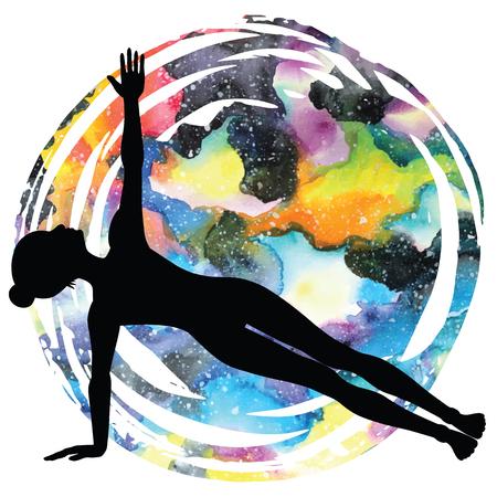 ashtanga: Women silhouette. Extended side plank yoga pose. Vasisthasana.