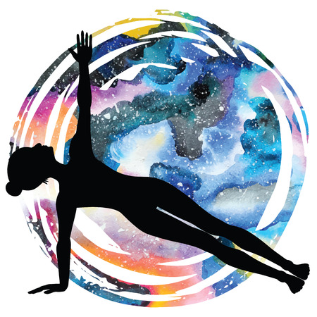 plank position: Women silhouette on galaxy astral background. Illustration