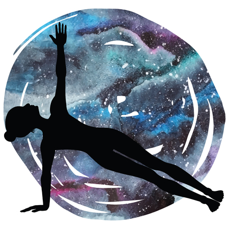 astral: Women silhouette on galaxy astral background. Illustration