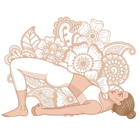 Women silhouette. Bridge Yoga Pose. Setu Bandha Sarvangasana