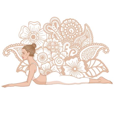 Women silhouette. Sphinx yoga Pose. Salamba Bhujangasana.