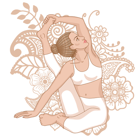 Women silhouette. Compass Yoga Pose. Parivrtta Surya Yantrasana