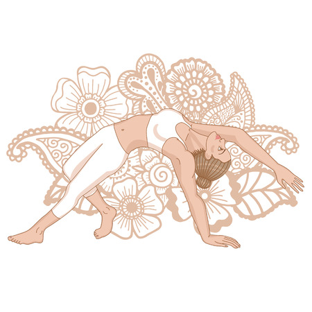 serene people: Women silhouette. Wild Thing Yoga Pose. Camatkarasana Illustration