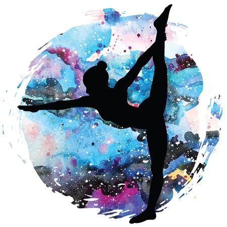 spiritual energy: Women silhouette.Standing Bow Pulling yoga pose. Dandayamana Dhanurasana