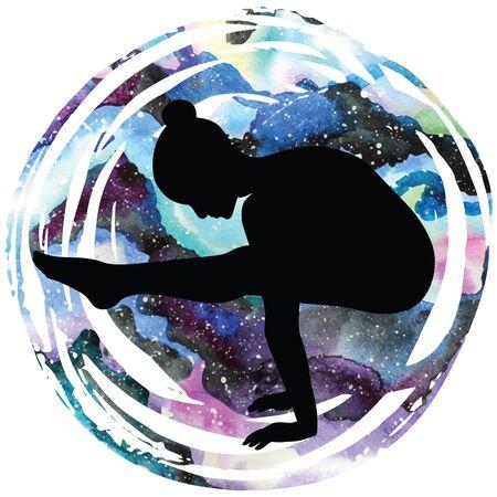 Women silhouette. Firefly yoga pose. Tittibhasana