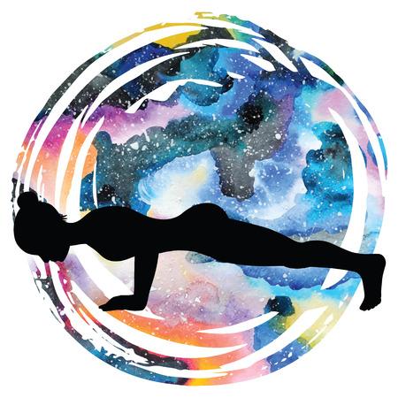 low energy: Women silhouette. Four-Limbed Staff Pose. Low Plank yoga pose. Chaturanga Dandasana