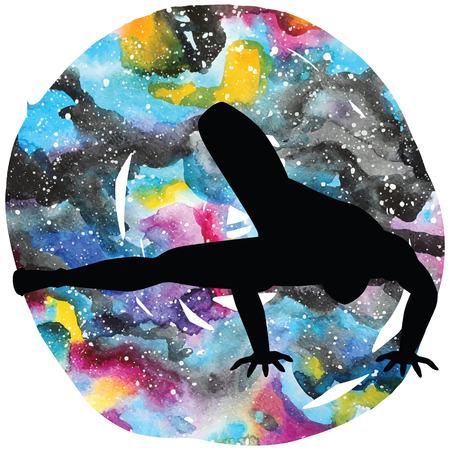 Women silhouette. Dragonfly yoga pose. Maksikanagasana Illustration