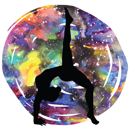 eka: Women silhouette on galaxy astral background. One legged downward facing dog Yoga Pose. Eka Pada Adho Mukha Svanasa Vector illustration