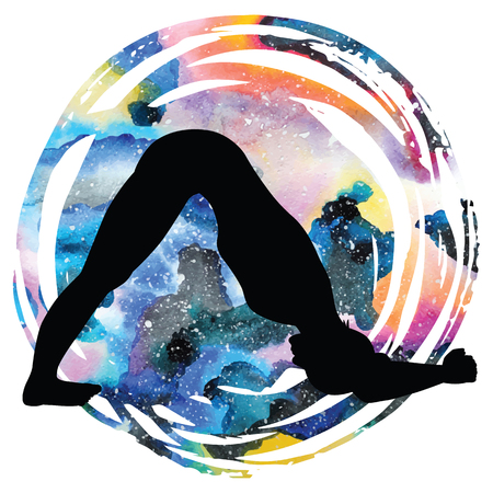 astral: Women silhouette on galaxy astral background. Dolphin Yoga Pose. Ardha Pincha Mayurasana Vector illustration